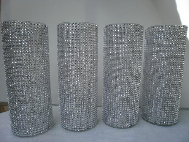 Set Of 10 9 Quot Tall Cylinder Rhinestone Vase Bouquet Vases