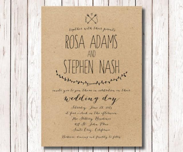 rustic wedding invitation , kraft paper invitation , wedding, Wedding invitations