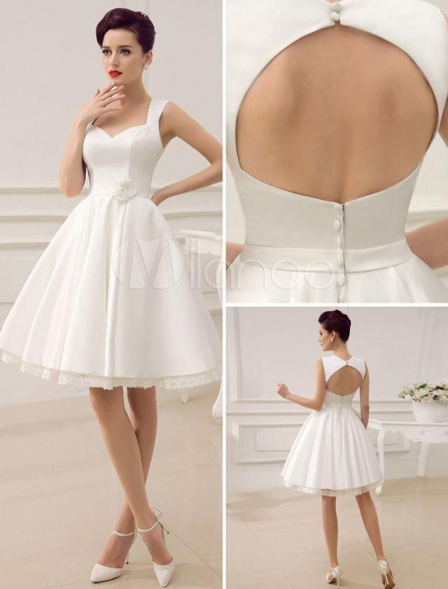 Beach short wedding dresses white sweetheart satin 2015 for Satin sash for wedding dress