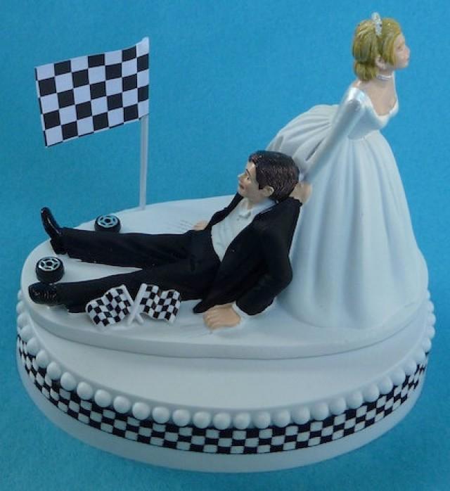 Race Car Flag Cake Topper
