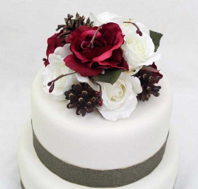 Wedding Cakes With Flowers On Top: Cranberry Burgundy Red, White