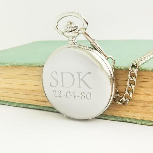 Mens Wedding Party Gifts: Personalized Pocket Watch, Gift For Men Silver Pocket