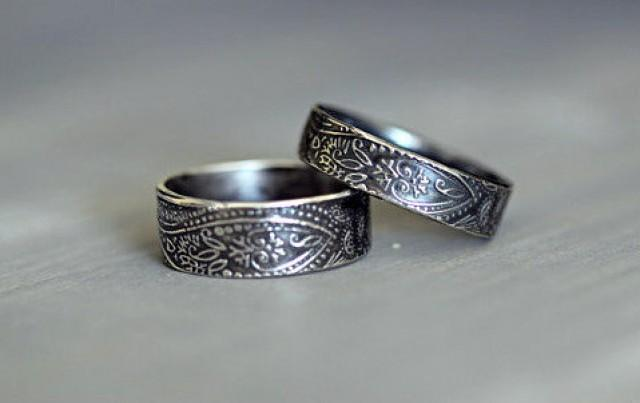 Sterling Silver Wedding Rings Paisley Embossed Rustic