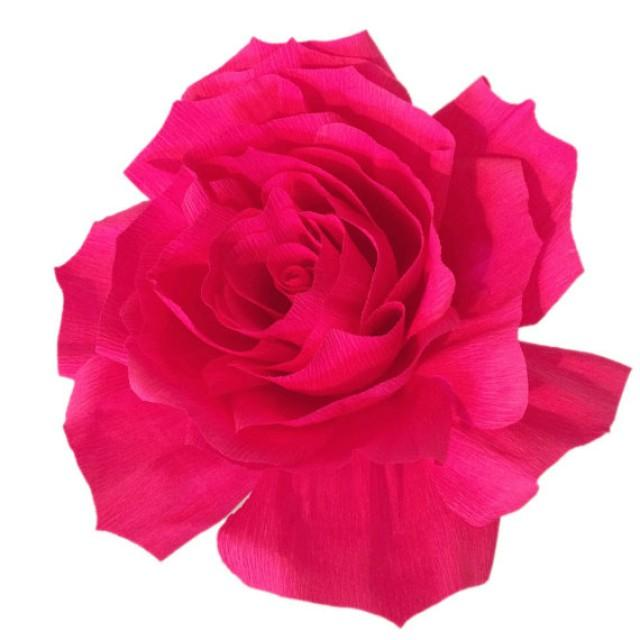 Giant Paper Rose Crepe Paper Rose Giant Bouquet Flower Hot Pink