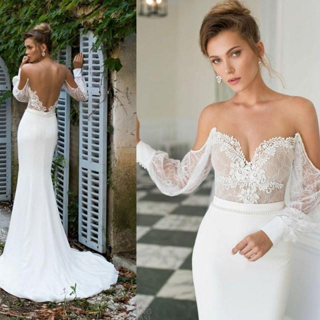 2015 julie vino long sleeve lace mermaid wedding dresses for White and gold lace wedding dress
