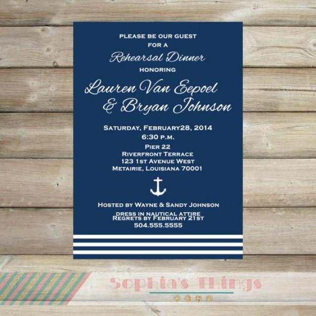 Navy And White Rehearsal Dinner Invitation Anchor Theme Rehearsal