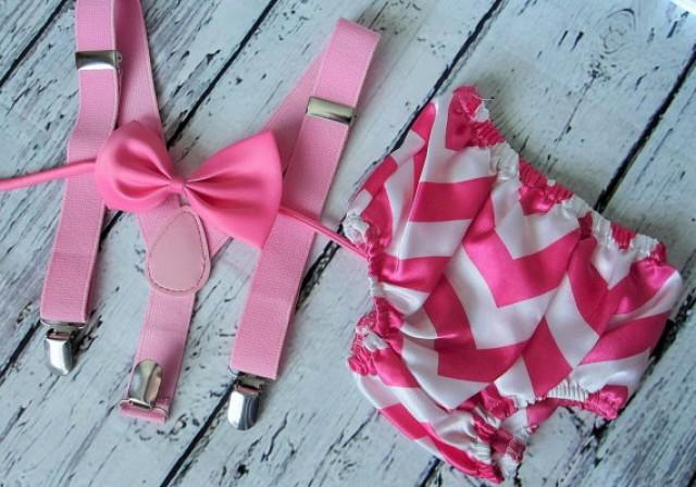 First Birthday Outfit Girl Cake Smash 1st Baby Suspenders Bow Tie Diaper Cover Pink Chevron