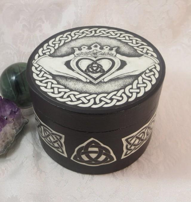 celtic claddagh round box wedding handfasting ring bearer box wicca pagan medieval jewelry box engagement ring box crystal storage 2257076 - Wiccan Wedding Rings