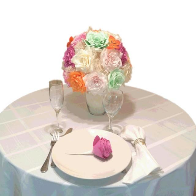 Rose Flower Wedding Table: Orchid Rose Centerpiece, Paper Flower Wedding Table Decor