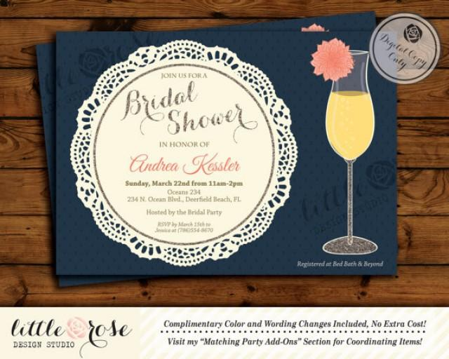 Dahlia flower mimosa bridal shower invitation bridal for Wedding brunch invitations