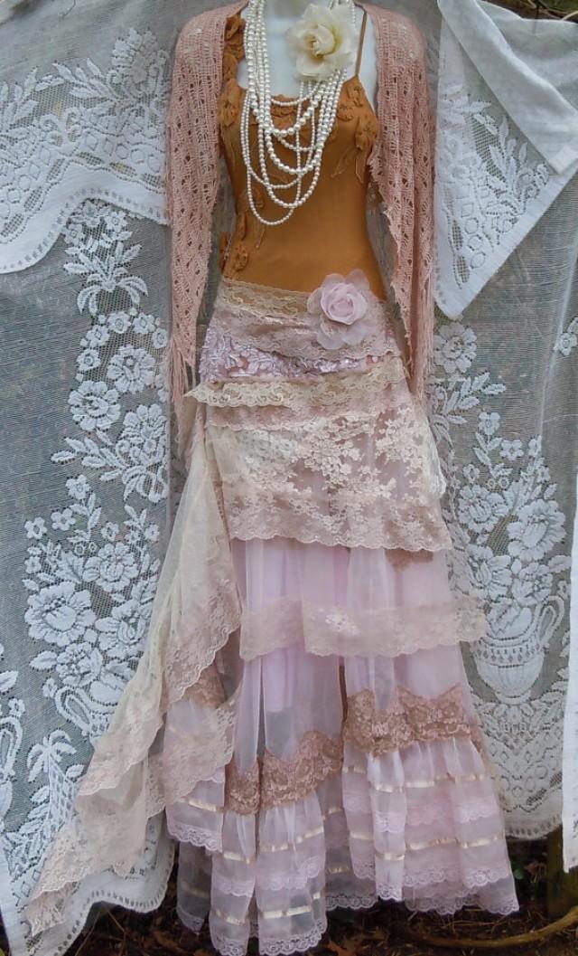 Blush Wedding Dress Cream Lace Tulle Satin Vintage Edwardian ...