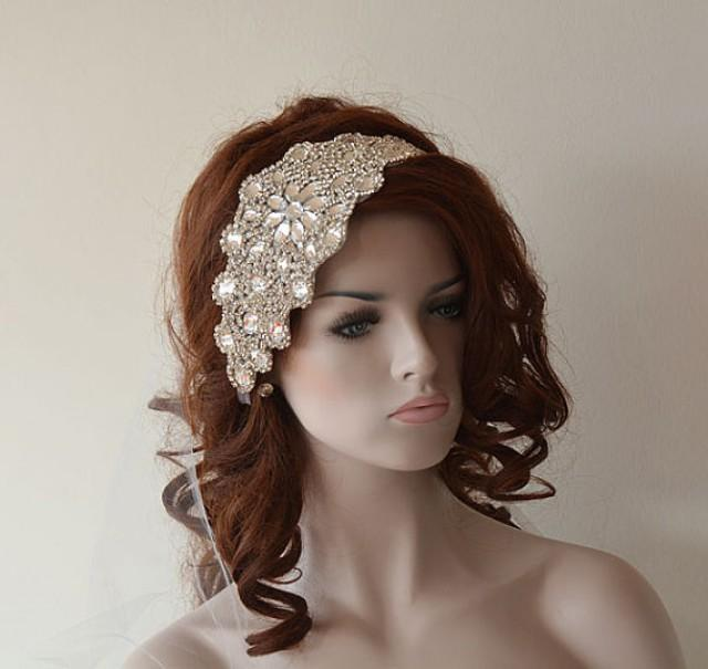Wedding Hairstyles With Headband And Veil: Wedding Rhinestone Headband, Wedding Veil, Bridal Veil