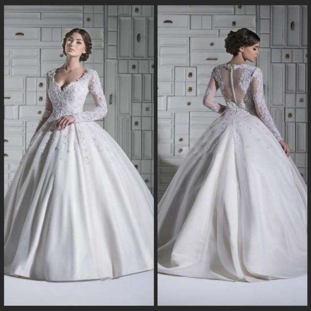 2015 Winter Long Sleeve Wedding Dresses Sheer Illusion