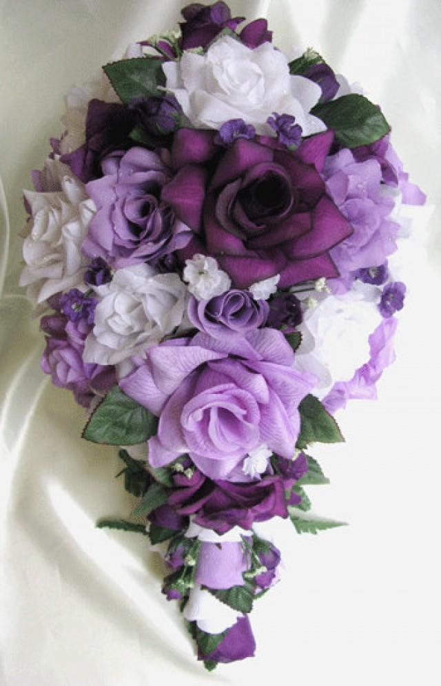 Free Shipping Wedding Bouquet Bridal Silk Flowers Cascade