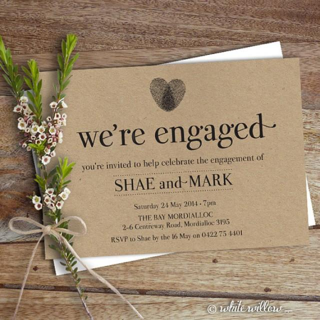 Engagement Party Invitation Invite Dinner Diy Printable Heart Thumbprint