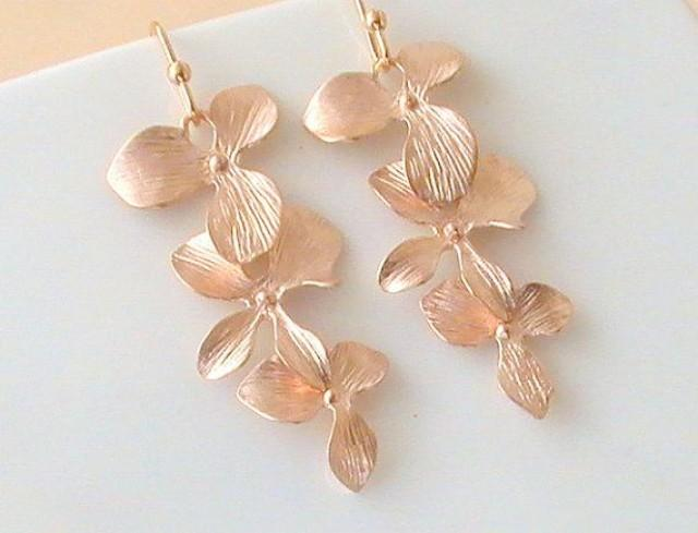 Rose Gold Earrings Flower Long Dangle Will You Be My Bridesmaid Gift Gifts For Her Wedding Idea 2259360