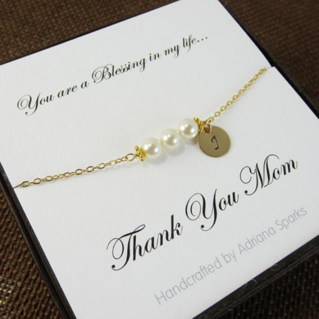 Mother In Law Gifts Wedding: Mother Of The Bride Personalized Bracelet With Thank You