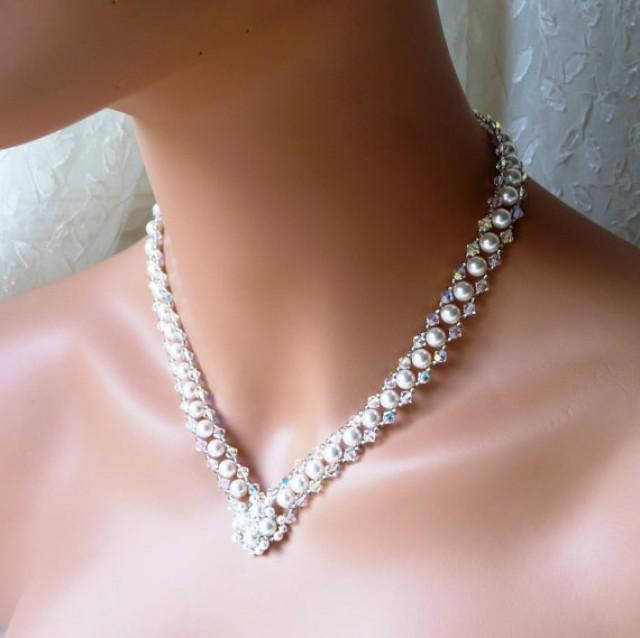 Wedding Jewelry Bridal V Necklace White Or Ivory Pearl Swarovski