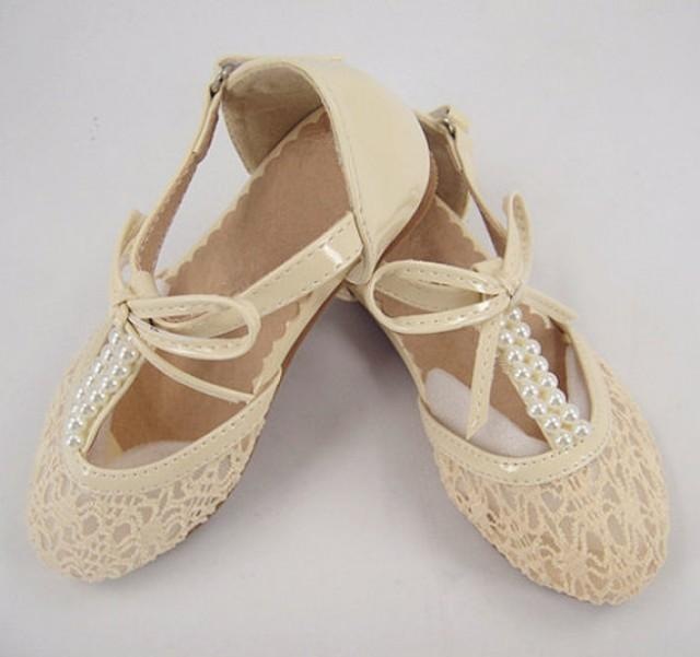 Lace Girl Shoes, Pearl Wedding Shoes