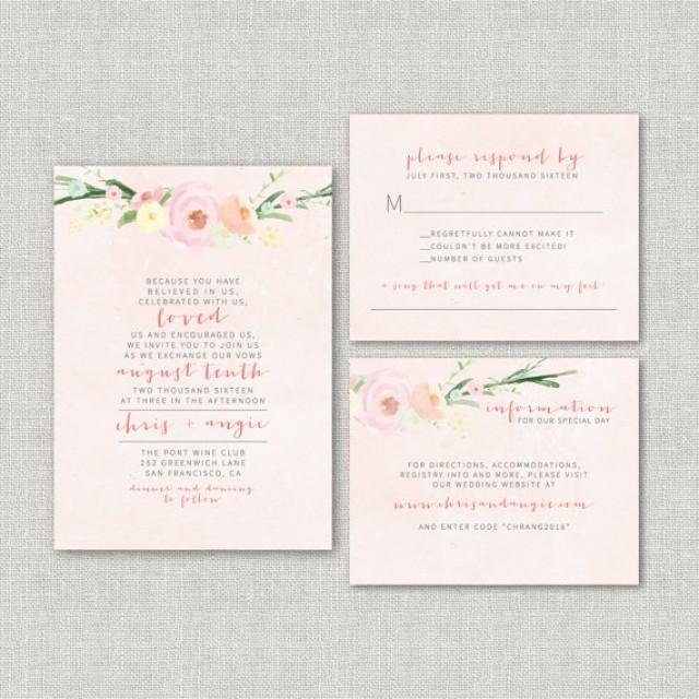 Watercolor Floral Wedding Invitation Suite DEPOSIT