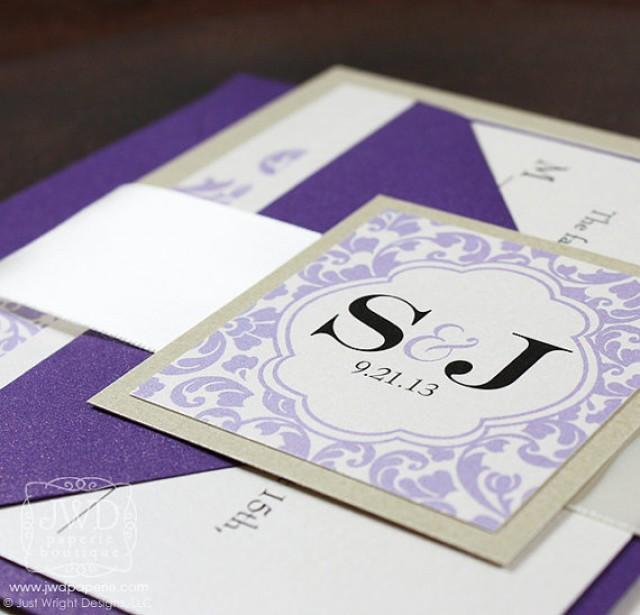 Champagne Lavender Periwinkle Purple Wedding Invitation Wedding