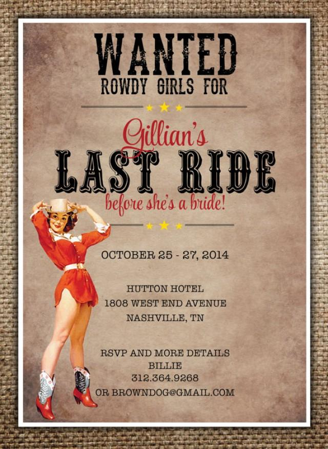 bachelorette party hen 39 s night invitation bride 39 s last ride country western theme with pin up. Black Bedroom Furniture Sets. Home Design Ideas