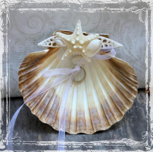 Seashell Ring Bearer Pillow Alternative Beach Weddings White