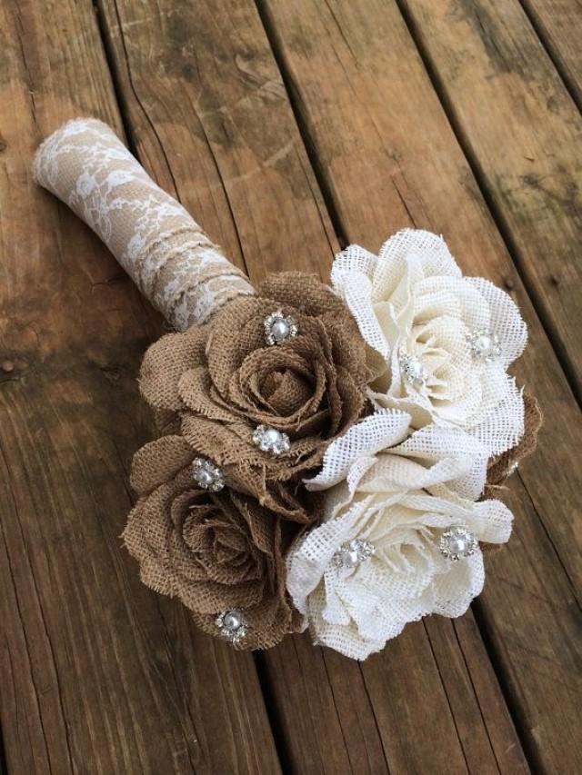large burlap bouquet shabby chic wedding rustic wedding rustic bouquet 2261513 weddbook. Black Bedroom Furniture Sets. Home Design Ideas