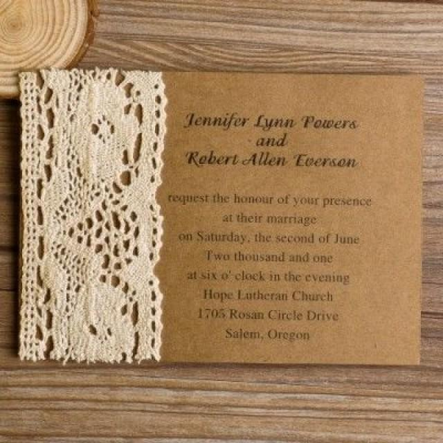 Vintage Lace Craft Paper Wedding Invites Ewls004 2261596 Weddbook