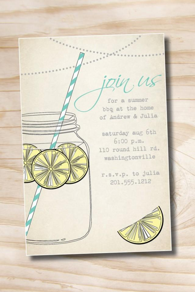 09f23bcb6f32 VINTAGE Mason Jar BBQ Lemonade Barbeque Party Engagement Party Rehearsal Dinner  Invitation - You Print