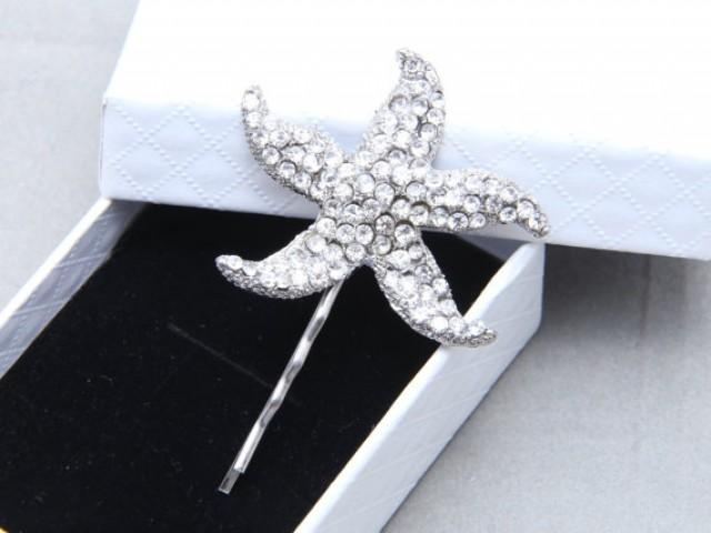 Starfish Hair Bobby Clip Flower Motif Rhinestone Wedding Bridal Crystal Ea Star Pin 2261883 Weddbook