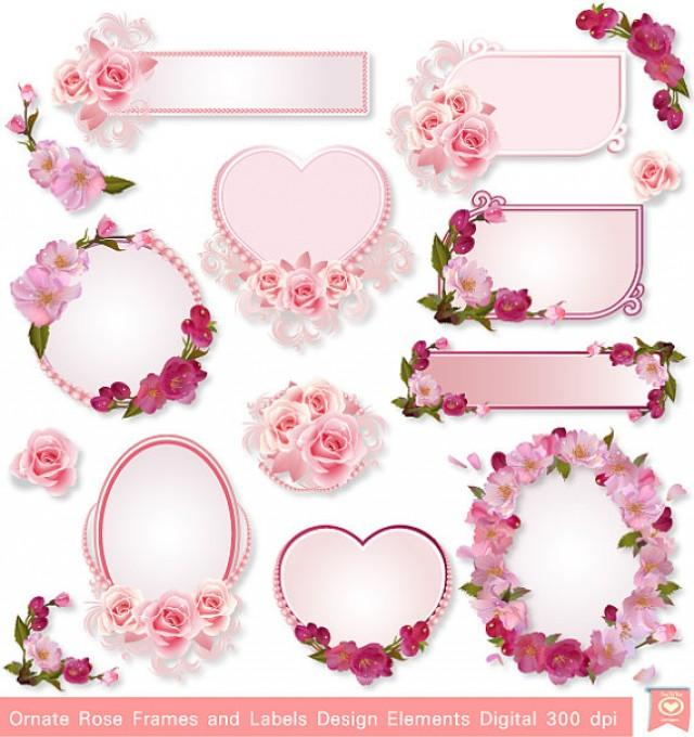 instant download ornate rose frames labels party tags wedding