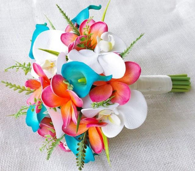 Wedding Coral Orange And Turquoise Teal Natural Touch Orchids ...