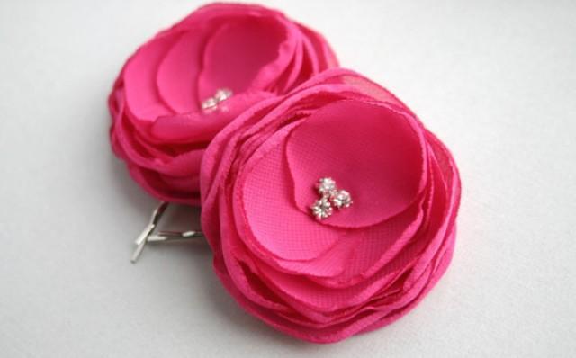 Pink Flower Hair Accessories Hot Pink Flower Hair Clips