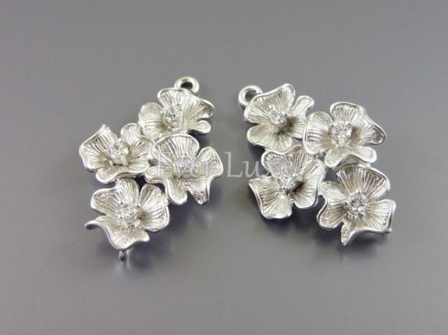 2 Flower Bouquet Cubic Zirconia Connectors Floral