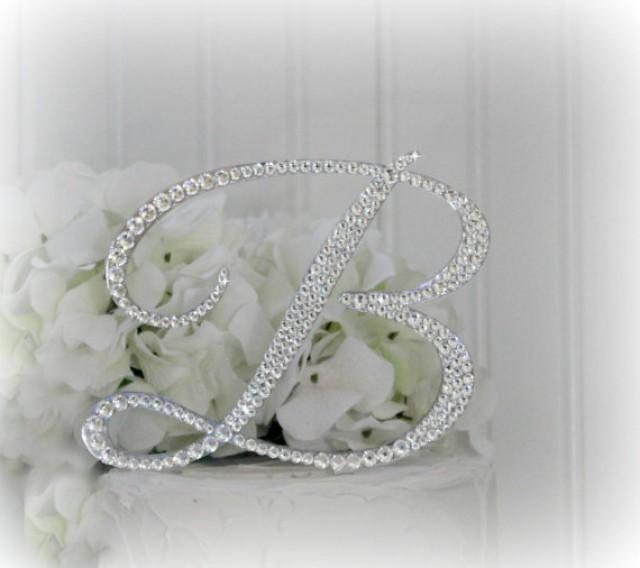 5 Monogram Wedding Cake Topper Initial In Swarovski Crystals Any Letter A B C D E F G H I J K L M N O P Q R S T U V W X Y Z 2263310