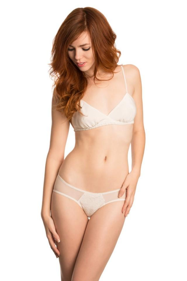 Louisa Silk And Lace Panties- Ivory Silk With French Lace ...