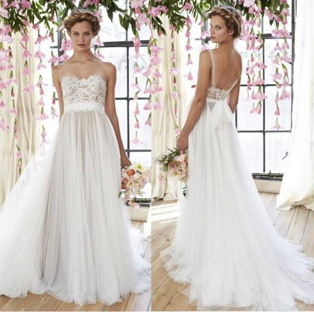 2015 New Arrival Beautiful Lace Appliques Wedding Gowns Straps Sexy Wedding Dresses Backless