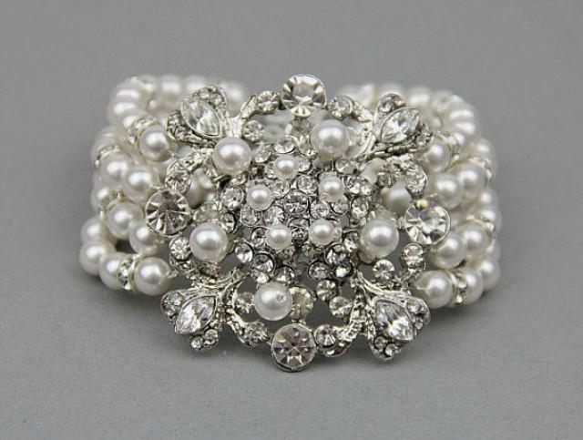 Bridal Jewelry Wedding Pearl Bracelet Rhinestone Statement