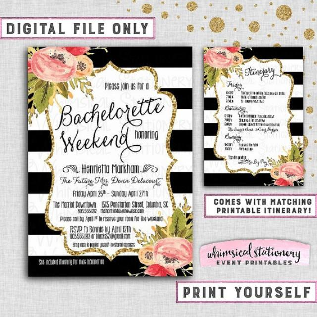 bachelorette party weekend invitation itinerary black and white