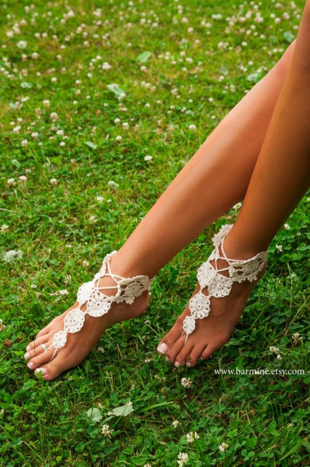 bfe347963 Women's barefoot sandals Doily crochet barefoot sandal Bridal Foot jewelry  Beach wedding accessory Boho shoes Lacing sandals Fashion trend