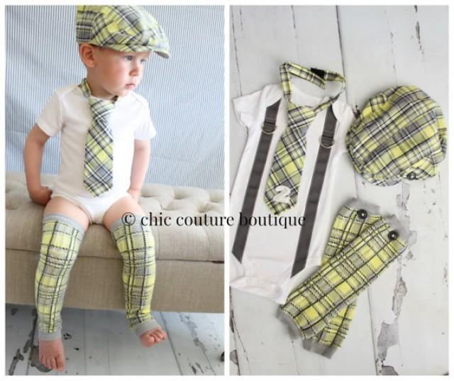 baby boy 1st or 2nd birthday outfit complete set of 4 items gray yellow arayle plaid tie w number 1 or 2 button leg warmers newsboy hat 2265751