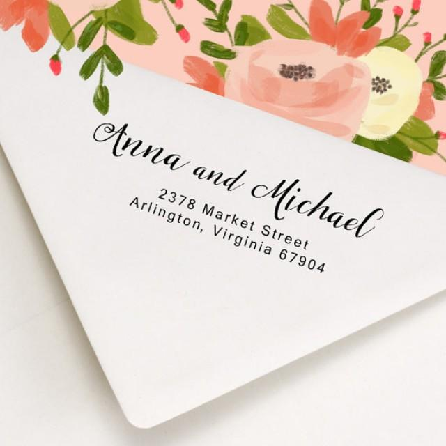 Custom Address Stamp Wood Handle Or Self Inking Return On Wedding Invitations Save The Date Anna And Michael Design 2265963 Weddbook