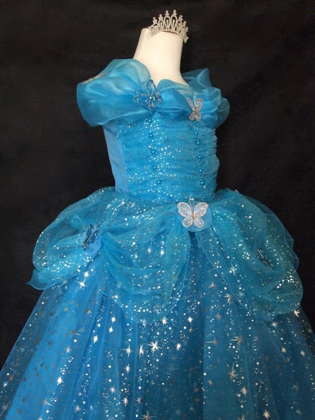 8d9eb6be33c4 w/tiara little girls sz. 6 CINDERELLA DRESS with BUTTERFLIES cinderella  ball gown flower girl dress princess dress