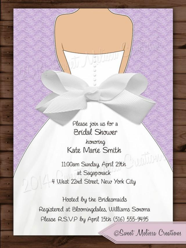 Bridal Shower Invitation Lace Bow Design