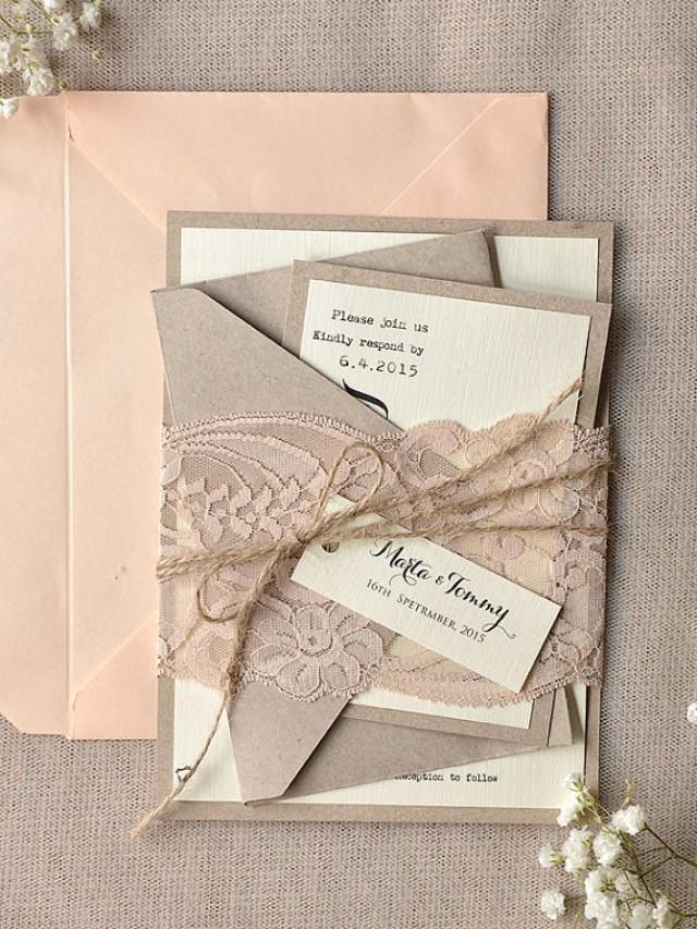 Custom Listing (100) Rustic Lace Wedding Invitation, Calligraphy ...