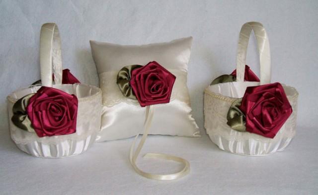 2 flower girl baskets 1 ring pillow handmade rose in 2 flower girl baskets 1 ring pillow handmade rose in burgundywine flowergirl ivory or white satin 2267353 weddbook mightylinksfo