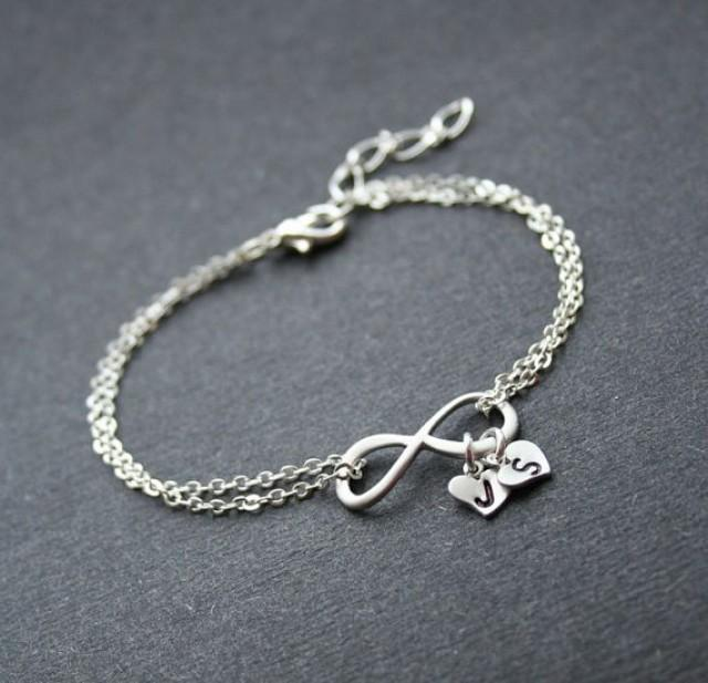 Personalized Inifinity Silver Infinity Heart Bracelet Friendship