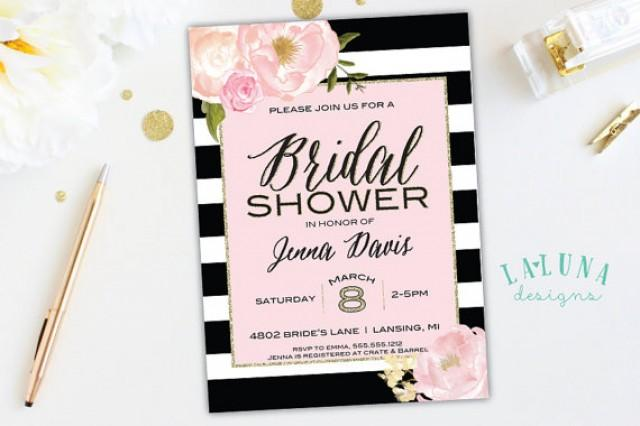 Bridal shower invitation floral black white stripe bridal shower bridal shower invitation floral black white stripe bridal shower invite pink and gold glitter bridal shower printable 2267479 weddbook filmwisefo