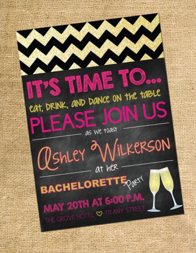 Bachelorette Invitation- Gold And Glitter Party Invite- Drink ...